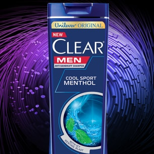 Front of shampoo pack Clear Men Cool Sport Menthol Shampoo 330ml