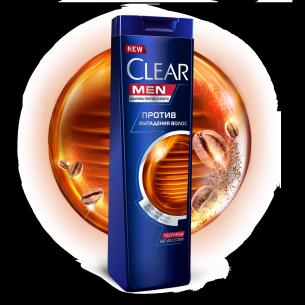Front of shampoo pack Clear Ерлердің шаш түсіміне қарсы сусабын 200мл